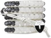 Wrap Bracelet-White Leather with White and Grey Stones