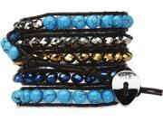 Wrap Bracelet-Brown Leather with Turquoise Stones & Blue/Silver Beads