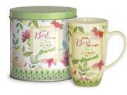 """15oz Pink and Green Mug Reading """"The Best Things in Life are Meant to be Shared"""" with Decorative Tin"""