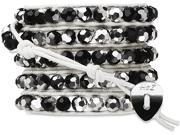 Wrap Bracelet-White Leather with Black and Silver Crystal Beads
