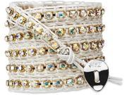 Wrap Bracelet-White Leather with Gold Crystal Gems