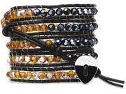 Wrap Bracelet-Black Leather with Black and Yellow Crystal Beads