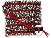 Wrap Bracelet-Red Leather with Silver Beads