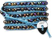 Wrap Bracelet-Blue Leather with Black Pearlescent Crystal Beads