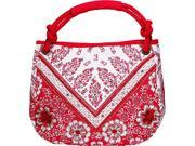 """13"""" x 14.5"""" Red & White Floral Over The Shoulder Purse"""