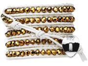 Wrap Bracelet-Genuine White Leather with Gold Glass Beads