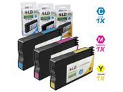 LD © Remanufactured Replacement for HP 951XL / 951 Set of 3 High Yield Ink Cartridges Includes: 1 Cyan CN046AN, 1 Magenta CN047AN, and 1 Yellow CN048AN