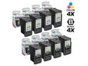 LD © Remanufactured for Canon PG-240XL / CL-241XL Set of 8 High Yield Ink Cartridges Includes: 4 5206B001 HY Black, & 4 5208B001 HY Color