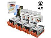 LD Remanufactured Replacement for Hewlett Packard HP 920XL / 920 4 Pack CD975AN Black Inkjet Cartridges + FREE 20 pack 4X6 LD Photo Paper for use in HP OfficeJet Printers:SHOWS ACCURATE LEVELS