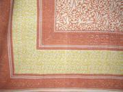 "Persian Filigree Block Print Cotton Tablecloth 90"" x 60"" Coral"