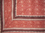 "Primitive Paisley Block Print Tapestry Cotton Bedspread 108"" x 88"" Full-Queen Red"