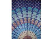 "Sanganeer Indian Tapestry Cotton Spread 92"" x 66"" Single Blue"