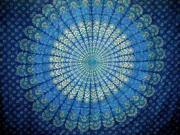 "Bursting Block Print Tapestry Cotton Bedspread 108"" x 88"" Full-Queen Blue"