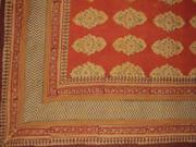 "Kensington Block Print Tapestry Cotton Bedspread 108"" x 108"" Queen-King Red Orange"