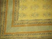 "Kensington Block Print Tapestry Cotton Bedspread 108"" x 108"" Queen-King Yellow"