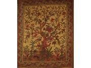 "Tree of Life Tapestry Cotton Bedspread 108"" x 88"" Full-Queen Brown"