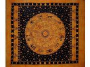 "Astrological Tapestry Cotton Bedspread 92"" x 82"" Full Saffron"