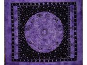 "Astrological Tapestry Cotton Bedspread 92"" x 82"" Full Purple"