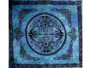 "Web of Life Celtic Tapestry Cotton Bedspread 90"" x 84"" Full Blue"