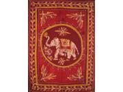 "Lucky Batik Elephant Cotton Tapestry or Spread 108"" x 88"" Red"