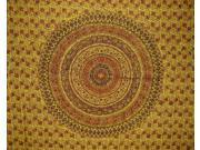 "Kalamkari Block Print Tapestry Cotton Bedspread 104"" x 104"" Queen Yellow"