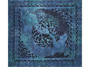 "Mermaid Lovers Celtic Tapestry Cotton Bedspread 90"" x 84"" Full Blue"