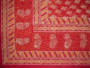 "Block Print Tapestry Cotton Spread or Tablecloth 90"" x 60"" R"