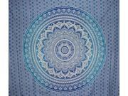 "Mandala Indian Tapestry Cotton Bedspread 96"" x 84"" Full Blue"