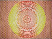 "Mandala Tapestry Cotton Spread 96"" x 62"" Orange"