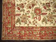 """Jaipur Block Print Cotton Tablecloth 90"""" x 60"""" Autumn Colors"""