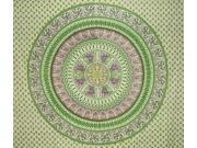 "Mandala Indian Tapestry Cotton Bedspread 96"" x 86"" Full Green"