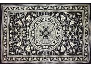 "Cotton Marine Spread or Tablecloth 90"" x 60"" Black & White"