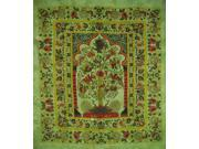 """Tree of Life Tapestry Cotton Bedspread 98"""""""" x 86"""""""" Full Green"""" 9SIA16W46F8407"""