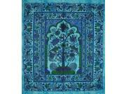 "Tree of Life Tapestry Cotton Bedspread 98"""" x 86"""" Full Turquoise"" 9SIA16W46F8688"