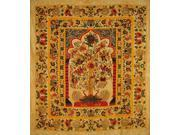 "Tree of Life Tapestry Cotton Bedspread 98"""" x 86"""" Full Amber"" 9SIA16W46F8410"