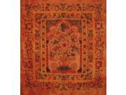 "Tree of Life Tapestry Cotton Bedspread 98"""" x 86"""" Full Orange"" 9SIA16W46F8408"