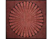 "Sanganeer Mandala Tapestry Cotton Bedspread 88"" x 82"" Full Rust Red"