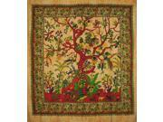 """Tree of Life Tapestry Cotton Bedspread 98"""""""" x 86"""""""" Full Amber"""" 9SIA16W4634198"""