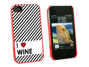 I Love Heart Wine - Snap On Hard Protective Case for Apple iPhone 4 4S - Red
