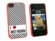 I Love Heart West Virginia - Snap On Hard Protective Case for Apple iPhone 4 4S - Red