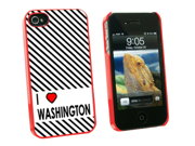 I Love Heart Washington - Snap On Hard Protective Case for Apple iPhone 4 4S - Red