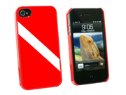 Diving Flag - Scuba Diver Dive - Snap On Hard Protective Case for Apple iPhone 4 4S - Red