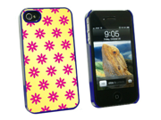 Flowers Pink - Snap On Hard Protective Case for Apple iPhone 4 4S - Blue
