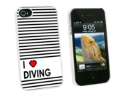 I Love Heart Diving - Snap On Hard Protective Case for Apple iPhone 4 4S - White