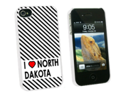 I Love Heart North Dakota - Snap On Hard Protective Case for Apple iPhone 4 4S - White