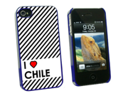 I Love Heart Chile - Snap On Hard Protective Case for Apple iPhone 4 4S - Blue