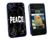 Peace Distressed Inspirational - Snap On Hard Protective Case for Apple iPhone 4 4S - Blue