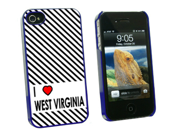 I Love Heart West Virginia - Snap On Hard Protective Case for Apple iPhone 4 4S - Blue