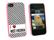 I Love Heart West Virginia - Snap On Hard Protective Case for Apple iPhone 4 4S - Pink