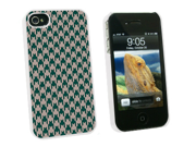 Preppy Houndstooth Teal Gray - Snap On Hard Protective Case for Apple iPhone 4 4S - White